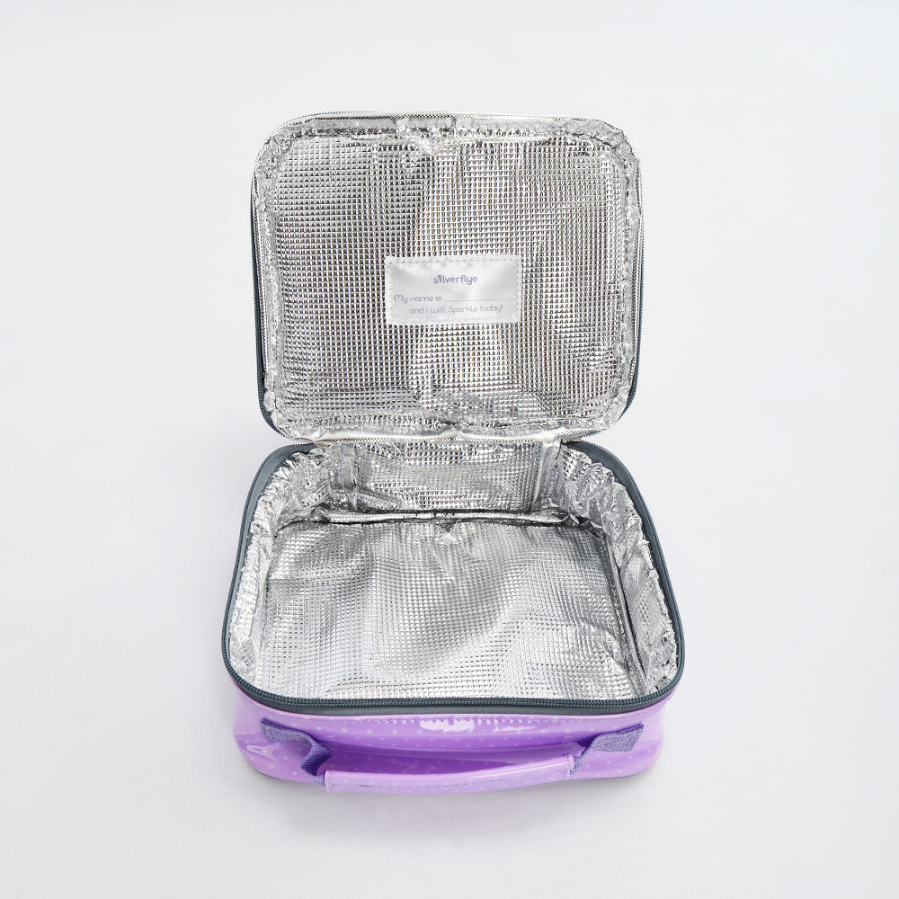 Kid Lunch Boxes by Silverflye- Girls Insulated Lunch Box- Purple