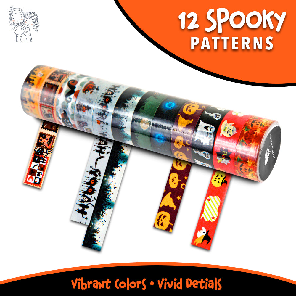 Washi Tape Halloween Theme 12 Roll Set by Paige & Gracie