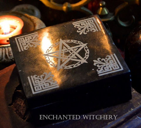 Black Soap Stone Witches Altar Pentacle Box - Manifestation Box, Crystals, Incense