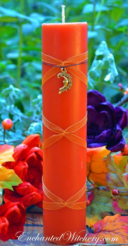 Autumn Magick ~ Altar Illuminating Candle ~ 2x9 Pillar