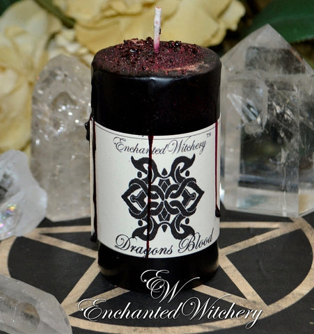 Dragons Blood Enchanted Witchery Candle, Good Luck, Success, Love, Ultra Protection from Negative Energies & The Spirit World