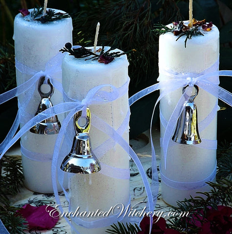 White Light Yuletide Blessings - Enchanted Witchery Sabbat Candle
