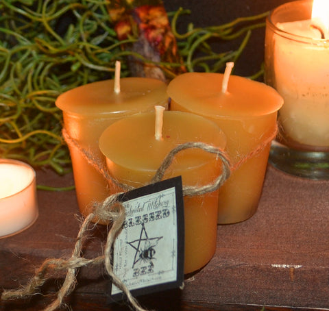 BLESSED BE  Votive Candles - All Natural Bee's Wax