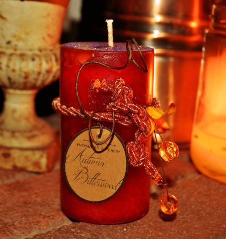 Autumn Bittersweet - Witchery Candle - Pillar -Protection, Balance, Crafted with pure Nightshade Extract