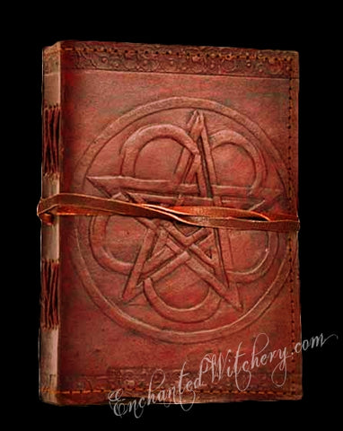 Grimiore Book of Shadows - Leather Hand Tooled Pentacle Design