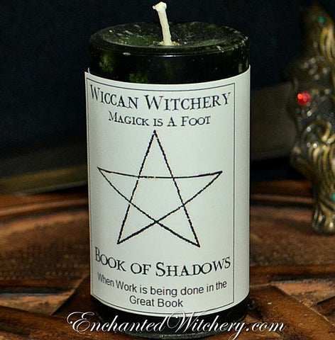 Book of Shadows - Wiccan Witchery Candle - Use when writing & creating the Great Book