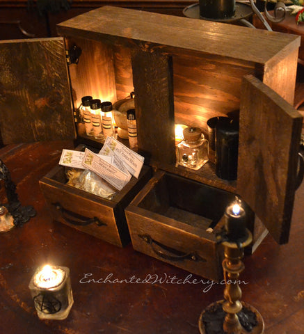 Witches Apothecary Cabinet - Herb Cupboard - Spell Cabinet - Apothecary Herb Chest