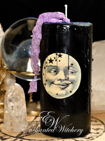 Crystal Moon ~ Enchanted Witchery Pillar Candle