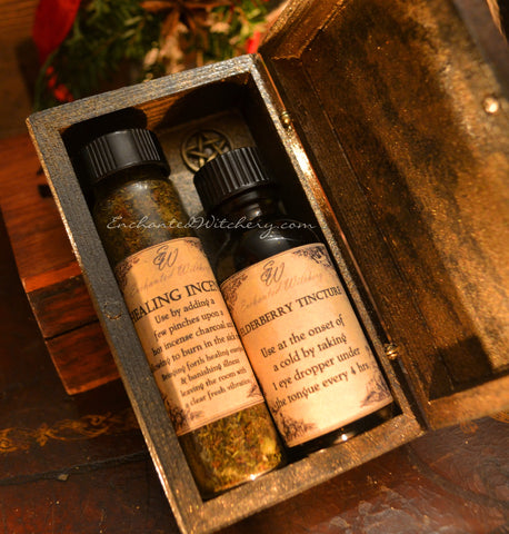 Winter Apothecary Medicine Box - Elderberry Tincture, Healing Incense Witches Box of Healing