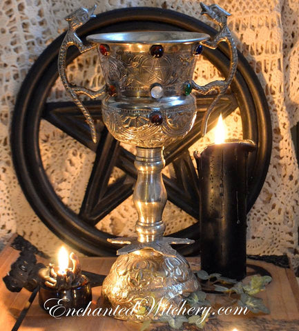 Chalice of The Priestess - Silver Plated Ornate Altar Chalice - Witches Chalice