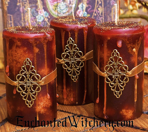 Sleepy Hallow ~ Enchanted Witchery Candle for Harvest Magick ~ Spiced Apple Cider, Myrrh, Patchouli & Amber
