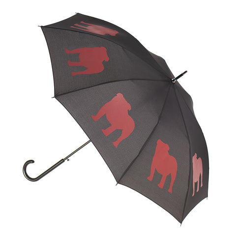 English Bulldog Umbrella Red on Black w/ Sleeve and Shoulder Strap