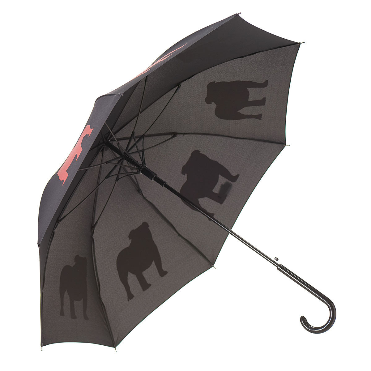 English Bulldog Umbrella Auto Open Premium Quality Red on Black w/ Sleeve and Shoulder Strap