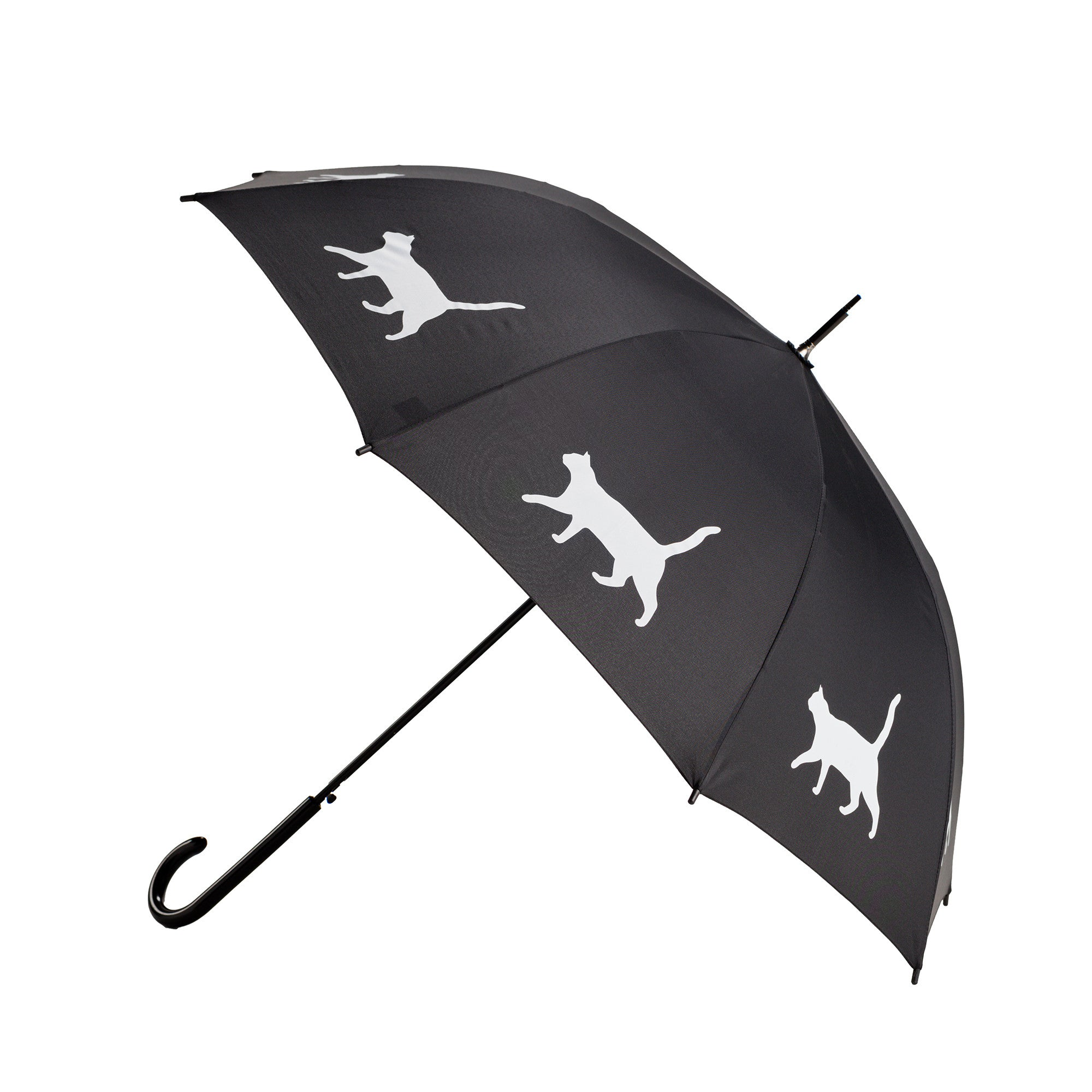 Cat White on Black Auto Open Premium Quality Stick Umbrella