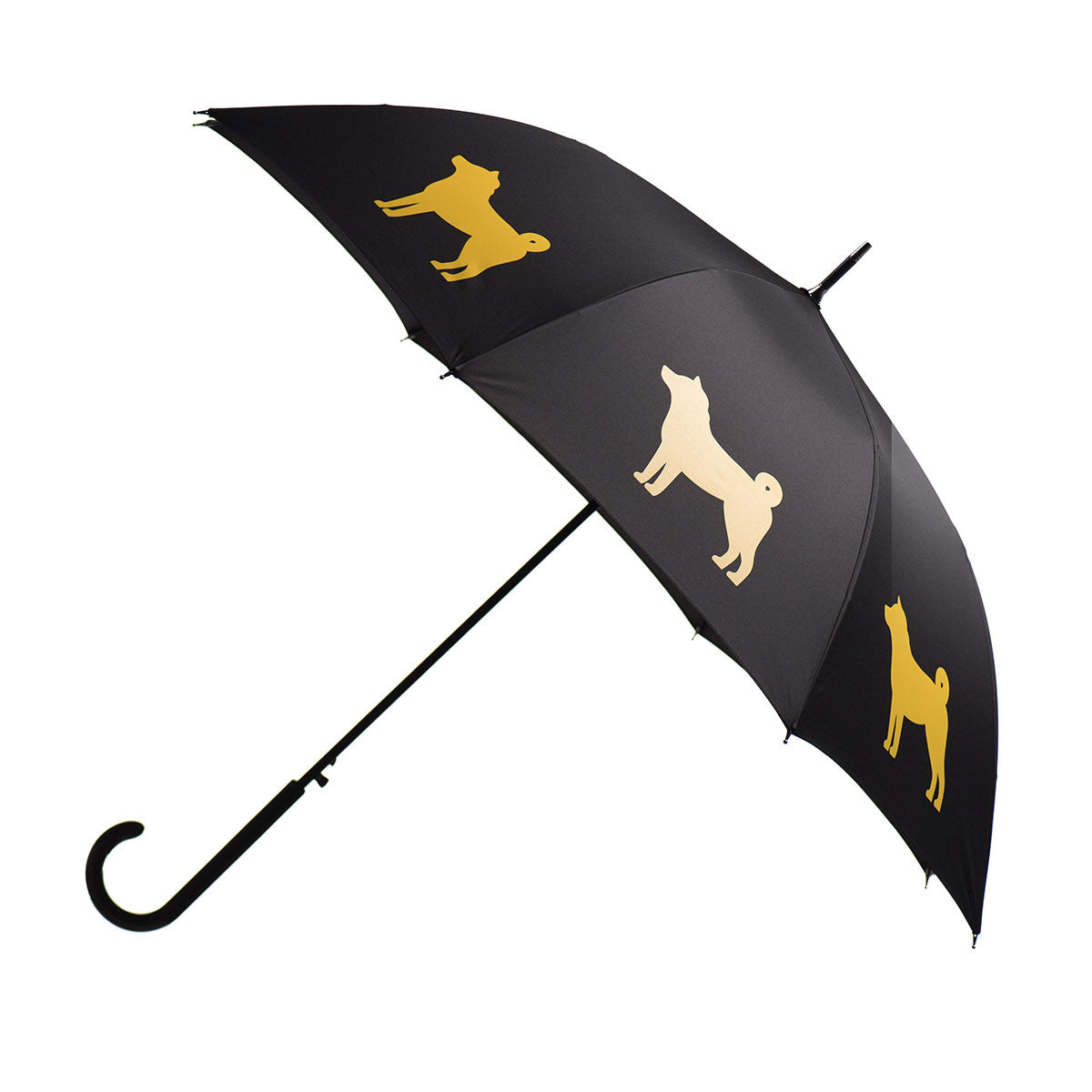 Shiba Inu Umbrella Gold on Black from San Francisco w/ sleeve and shoulder strap