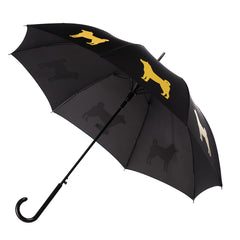 Shiba Inu Umbrella Auto Open Premium Quality Gold on Black w/ sleeve and shoulder strap