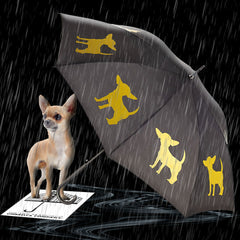 Chihuahua Umbrella Yellow on Black Auto Open Premium Quality