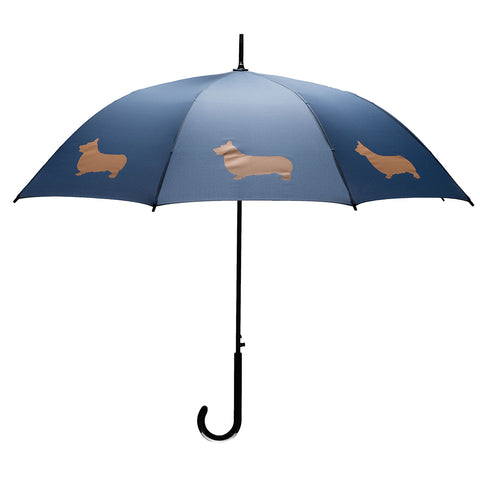 Welsh Corgi Stick Umbrella Tan on Navy Blue Auto Open Premium Quality