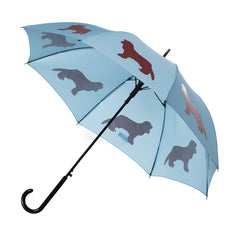Cavalier King Charles Spaniel Umbrella Marsala on Island Paradise Blue w/ sleeve and shoulder strap