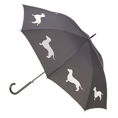 Dachshund Umbrella White on Black w/ sleeve and shoulder strap