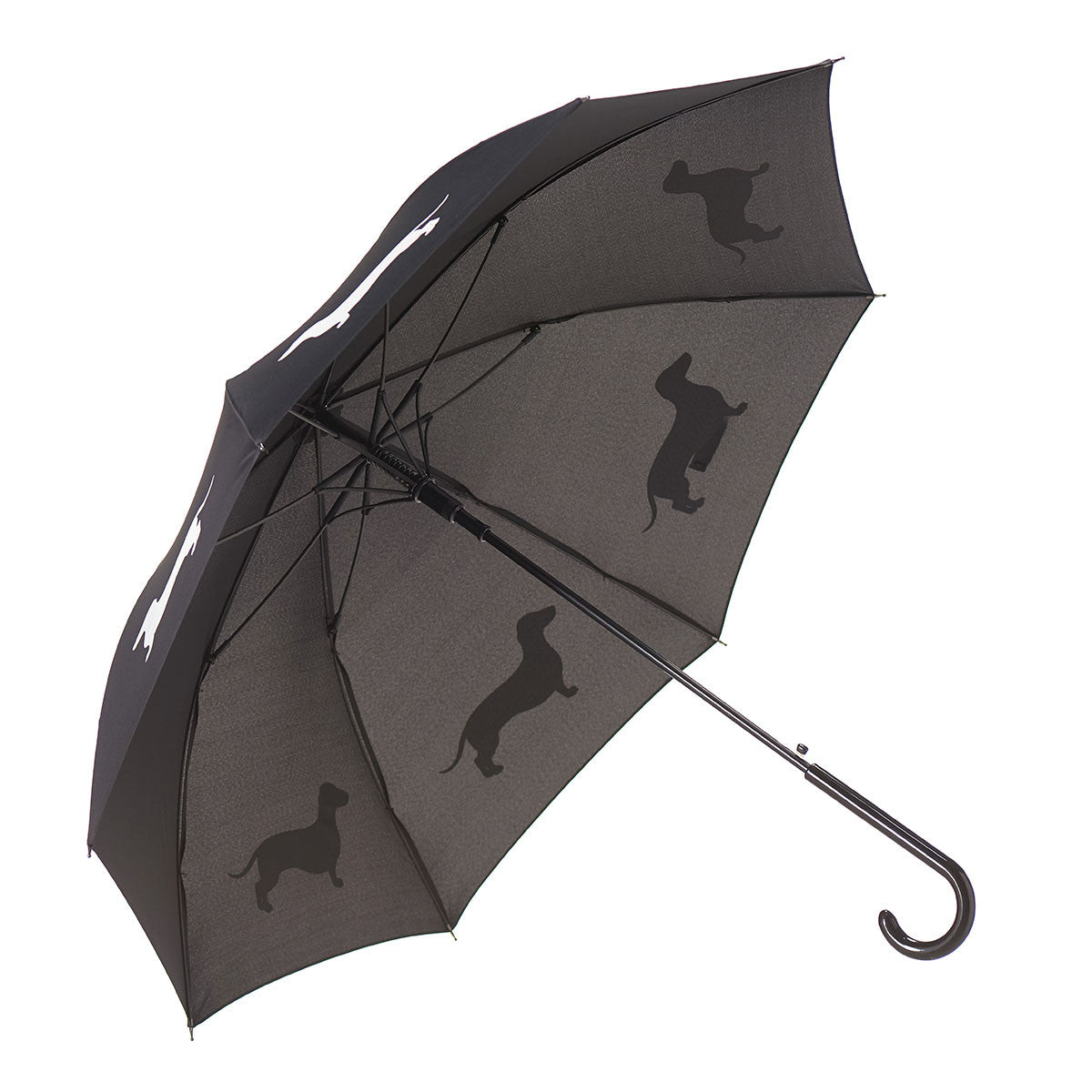 Dachshund Umbrella Auto Open Premium Quality White on Black