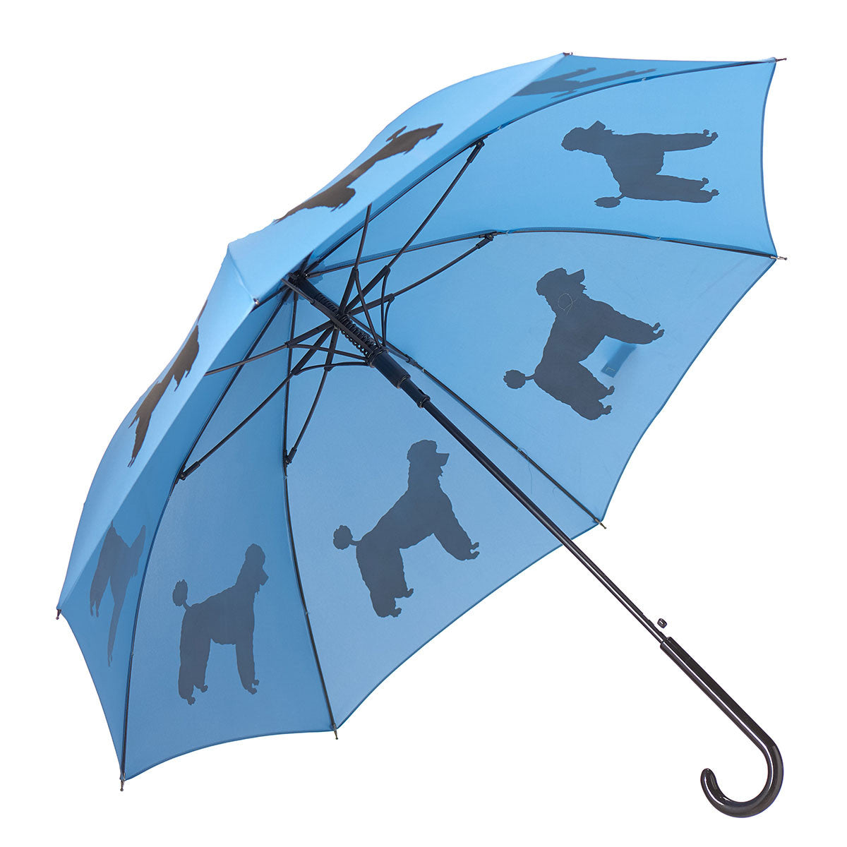 Poodle Stick Umbrella Auto Open Premium Quality Black on Blue