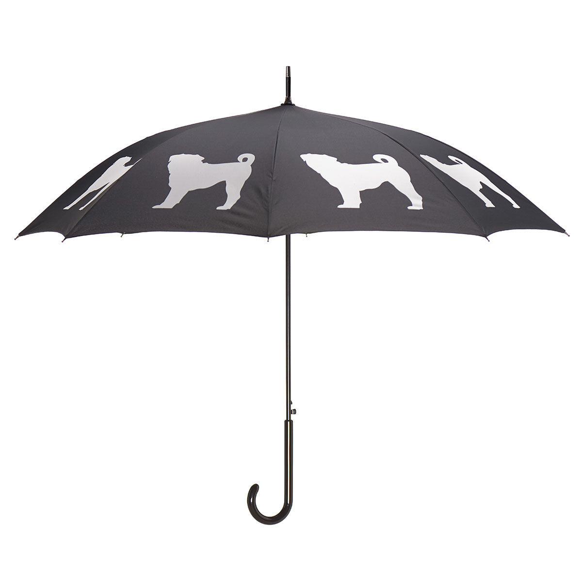 Pug Stick Umbrella Auto Open Premium Quality White on Black