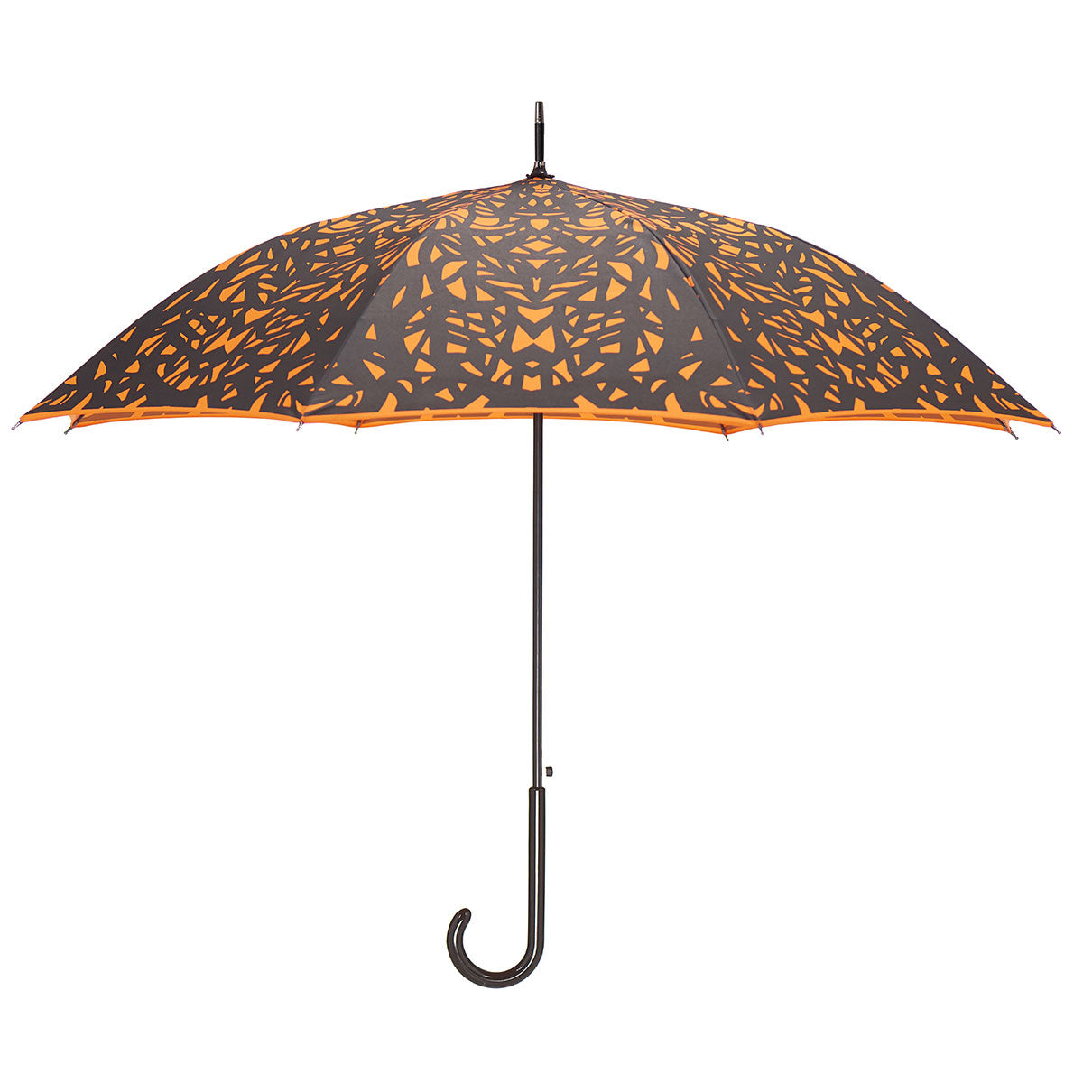 Butterfly Wing Design Black on Flame Red/Orange Umbrella w/ sleeve and shoulder strap