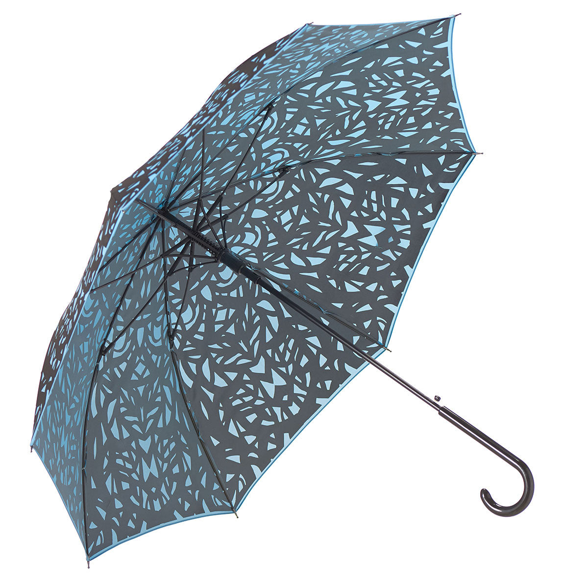 Web Design Umbrella Auto Open Premium Quality Black on Island Paradise Blue w/ sleeve and shoulder strap