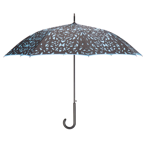 Butterfly Wing Design Black on Island Paradise Blue Umbrella w/ sleeve and shoulder strap