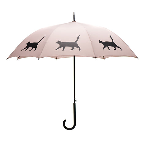 Cat Umbrella Black on Warm Taupe Auto Open Premium Quality w/ sleeve and shoulder strap