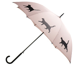 Cat Umbrella Black on Warm Taupe w/ sleeve and shoulder strap