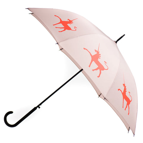 Unicorn Umbrella Auto Open Premium Quality Flame Red/Orange on Warm Taupe w/ sleeve and shoulder strap