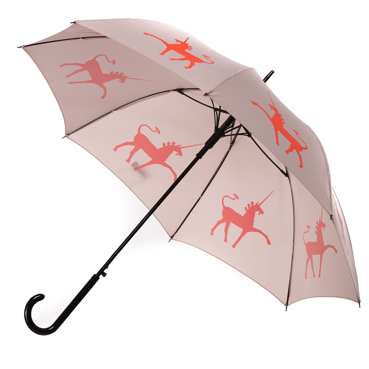 Unicorn Umbrella Flame Red/Orange on Warm Taupe w/ sleeve and shoulder strap