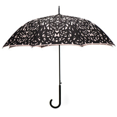 Web Design Umbrella Auto Open Premium Quality Black on Warm Taupe w/ sleeve and shoulder strap