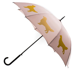 Golden Retriever Umbrella Auto Open Premium Quality Maize on Warm Taupe w/ sleeve and shoulder strap