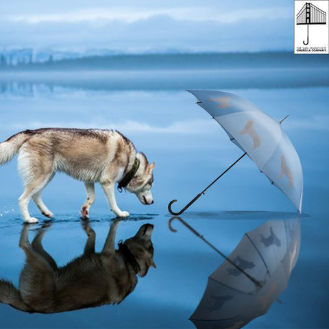 Siberian Husky Umbrella Auto Open Premium Quality Silver on Niagara Blue w/ sleeve and shoulder strap