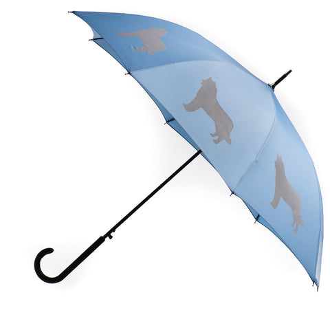 Siberian Husky Umbrella Silver on Niagara Blue w/ sleeve and shoulder strap