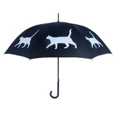 Cat Umbrella White on Black w/ sleeve and shoulder strap