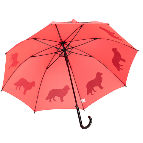 Border Collie Umbrella Black on Red Auto Open Premium Quality