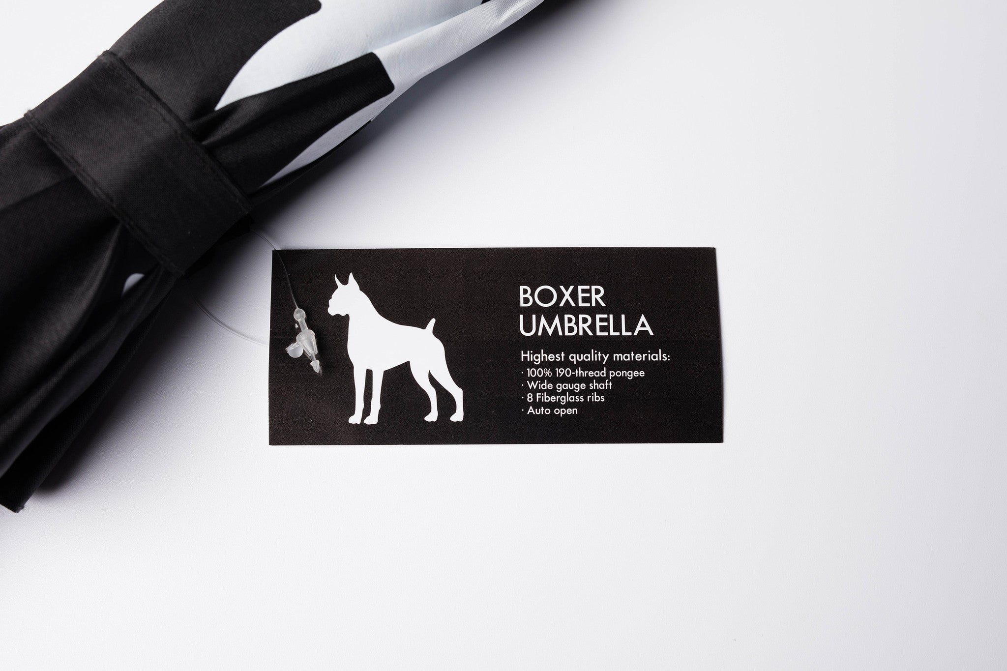 Boxer Umbrella White on Black