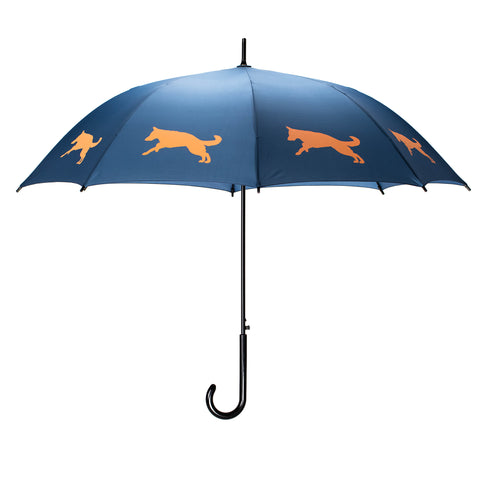 German Shepherd Umbrella Auto Open Premium Quality Orange on Navy Blue