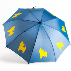 Yorkshire Terrier Umbrella Yellow on Navy Blue
