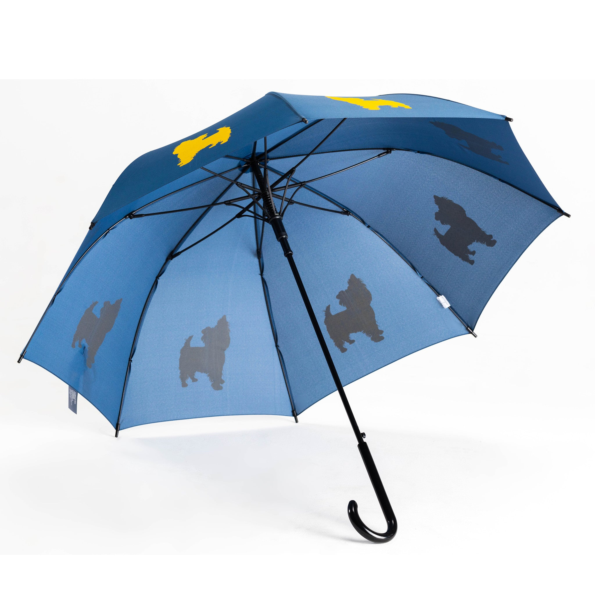 Yorkshire Terrier Umbrella Auto Open Premium Quality Yellow on Navy Blue