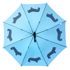 Dachshund Long-Haired Umbrella Auto Open Premium Quality Black on Island Paradise Blue