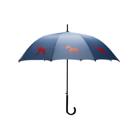 Schnauzer Umbrella Auto Open Premium Quality Red on Navy Blue