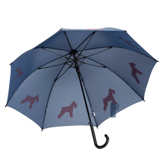 Schnauzer Umbrella Red on Navy Blue