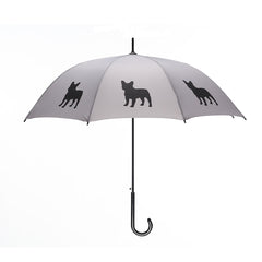 French Bulldog Stick Umbrella Black on Silver Auto Open Premium Quality