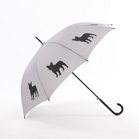 French Bulldog Umbrella Black on Silver w/ sleeve and shoulder strap