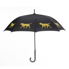 Labrador Retriever Umbrella Yellow on Black w/ sleeve and shoulder strap